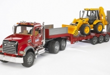 Bruder 02813 MACK Granite trailer + JCB